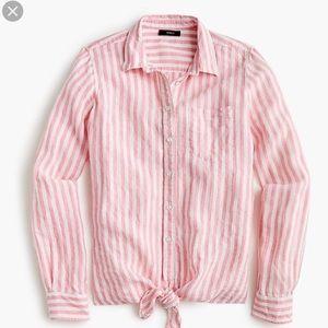 J. Crew Tie Front Linen Shirt NWT